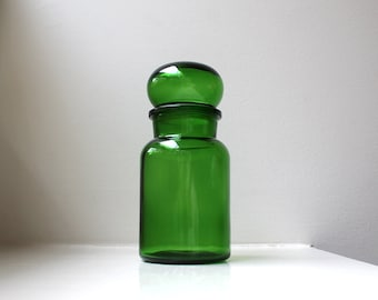 Mod Green Glass Apothecary Jar Bubble Top Large Mid Century 1970's BELGIUM