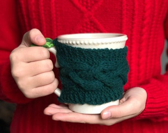 Cabled Cup Cozy, Green, Gifts Under 10, Teacher Gifts, Seasonal Decor, Christmas Table,  Mug Hugger, Coffee Warmer