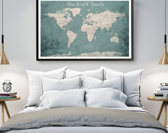 World map etsy world map poster canvas print framed world map wall art canvas poster print political gumiabroncs Gallery