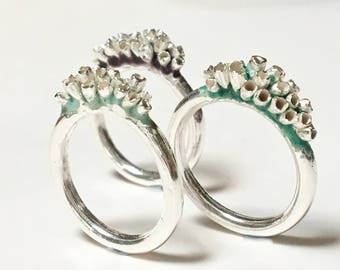 Enamelled Lichen Growth Stacking Rings