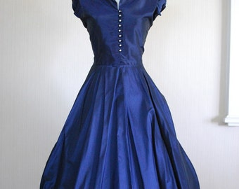 1940's . Midnight Blue Gown with Rhinestone Buttons . L  RESERVED