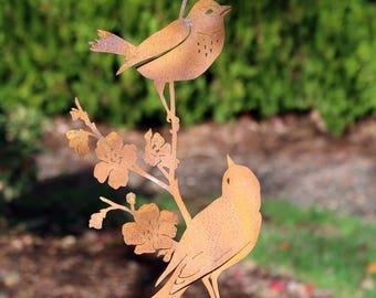 Metal Birds on Branch   Metal Bird Art   Bird Gifts Women   Bird Gifts for Mom   Yard Art Garden Decor   Garden Gifts for Bird Lovers   B778