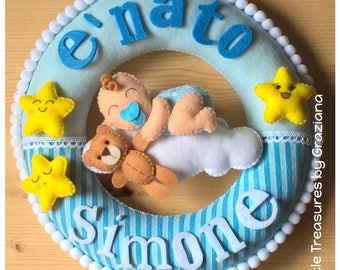 Birth Garland with baby on a cloud