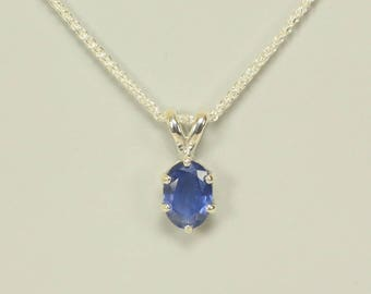 Natural Blue Sapphire in Sterling Silver Pendant