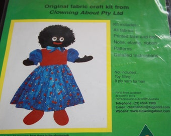 Vintage craft kit Miss Molly  Pattern and fabric for doll making 58 cm  doll pattern craft kit original fabric kit Clowning Around