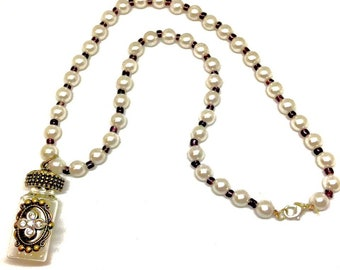 Pearl Accent Bronze Vial Necklace
