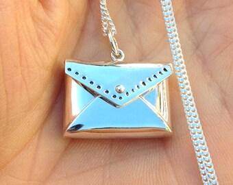 Love Letter Real Locket Envelope 925 Sterling Silver Charm Pendant Necklace Lobster Clasp