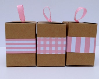 Narrow Pink Paper Ribbon in Pattern of Your Choice