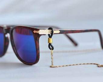 sunglasses chain - gold tone chain eyewear retainer - woven patterned chain, sunglass reading glasses holder