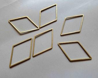 100pcs Raw Brass Rhombus Rings , Findings 34mm x 18mm - F302