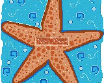 Starfish (v2) - summer sea cross stitch kit