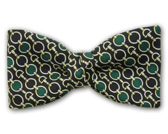 """Silk Bow Tie """"Strapper""""- Large and Standard Pre-Tied and Freestyle Bow Tie - Handcrafted in USA"""