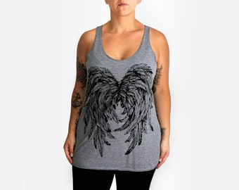 XL -Tri-Blend Heather Gray Racerback Tank with Angel Wings Screen Print