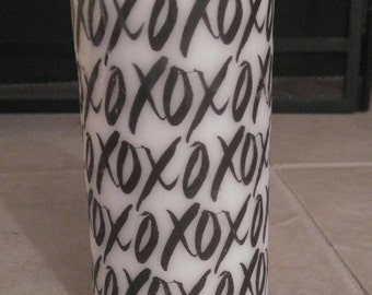 XOXO Hugs and Kisses Black and White Pillar Candle