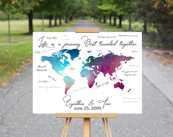 World Map Guest Book Canvas, Travel Destination Signature Guest Book, Wedding Guest Book Alternative, Wedding Guest Book Map, Wedding Decor