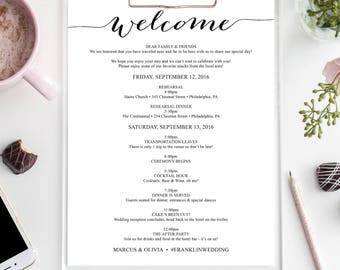 Wedding Itinerary - Welcome Bag - Editable Itinerary - Wedding Welcome Letter - Full Page - 8.5x11 Wedding Agenda - DIY - Instant Download