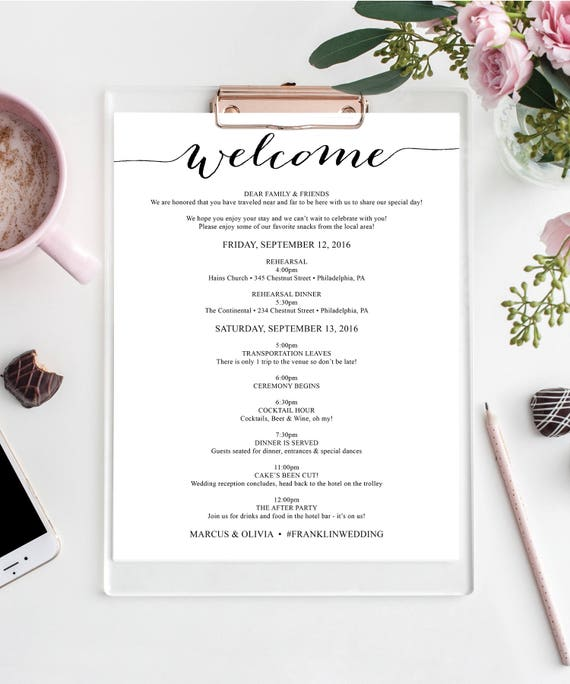 Wedding Itinerary Welcome Bag Editable Itinerary Wedding