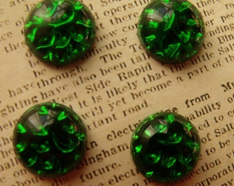 Emerald Green Pinfire 15mm Vintage  Round Vintage Glass Cabochons 4 Pcs
