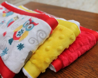 Set of 3 Matching Burp Cloths with Owl Print Minky and Coordinating Red Dimple Dot Minky and Yellow Dimple Dot with Ribbon Edging