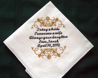 Father of the Bride 126S with a FREE Gift Box and Free shipping in the US Personalized Wedding Handkerchief