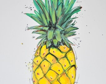 Pineapple, summer, food, art print, art print, print, art, magnet, fridge, decor, print, airbrush, wall art, poster, home