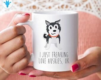 I freaking Love Huskies, dog lover gift, dog mom, gift for her, ceramic mug, coffee mug, mugs mugs with sayings birthday gift gift for women