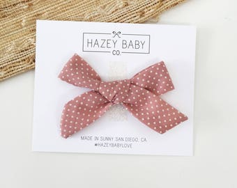 Schoolgirl Bow, Headband or clip, Dotty Rose, Dusty Rose, pink bow