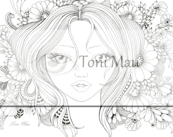 Del – Digital Download Coloring Page, Adult Coloring, Relaxing, Digi Stamp, Printable, PDF file.