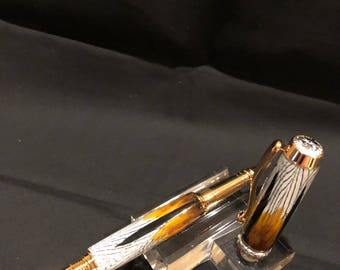 Pheasant feather rollerball pen