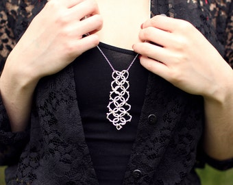 "Long""collar"" Lace necklace cast in sterling silver"