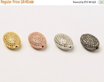 25% OFF 15mm Oval Bead CZ Pave Beads, Gold, Rhodium, Rose Gold, Black finish, AAA quality, Horizontal Hole Choose Color- Bmp20
