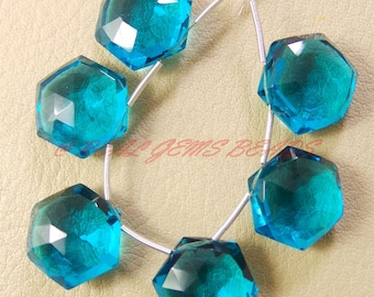 30 Pieces, Paraiba Blue Quartz Faceted Star Shape Briolettes, 8 MM Size, Loose Gemstone Star Beads, AAA Grade High Quality
