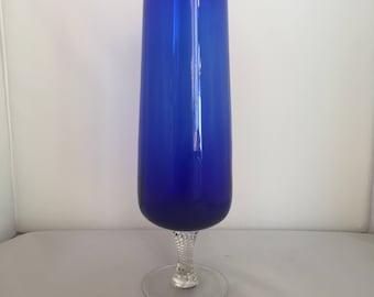 Vintage Retro kitsch 1960s 60s Colbalt blue twisted stem tall glass vase