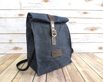 Waxed Canvas Lunch Bag With Shoulder Strap in Gray Blue - Waxed Canvas Lunch Tote - Waxed Canvas Bag