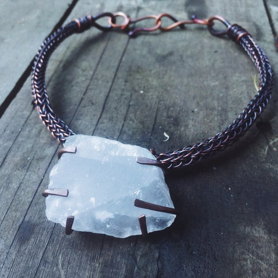Large quartz and copper viking knit choker | artisan metalwork, rustic necklace