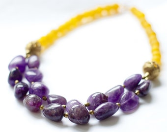 DELALI: African Necklace, Amethyst Nugget, Semi-Precious Gemstone, Yellow Purple, Ghanaian Recycled Glass, Lost Wax Brass, Tribal Jewelry