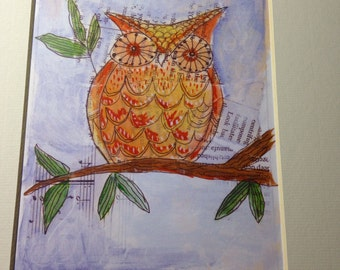 Archival matted art print of original mixed media Owl