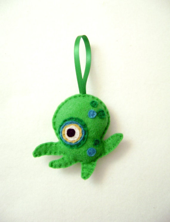 Monster Ornament, Christmas Ornament, Paul the Tentacle Monster, Christmas Decoration, Gift Topper, Stocking Stuffer