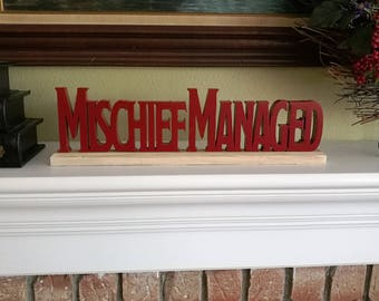 Harry Potter Mischief Managed Wood Cutout Sign for Shelf
