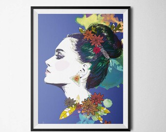 A4 poster illustrated - ethnic - blue - profile Illustration and decoration
