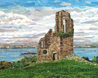The Folly, Mount Edgcumbe - Signed Fine Art Giclée Print. - ancient ruin, green blue landscape print from original collage.