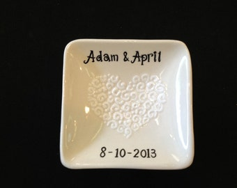 Personalized Hand Painted Ceramic Ring Dish, ring holder- Engagement, Wedding, Anniversary gift