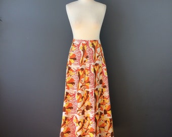 Vintage 70s White Orange Yellow Red Psychedelic Print Cotton Long Maxi Skirt 8