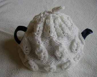 Hand Knitted Tea Cosy In Aran Colour White