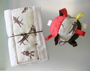 Sock Monkey print SET (2) Burp Cloths & Soft Ball