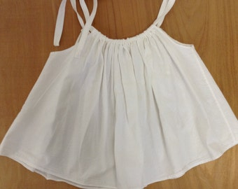 Handmade White Cotton Swing Tank Top