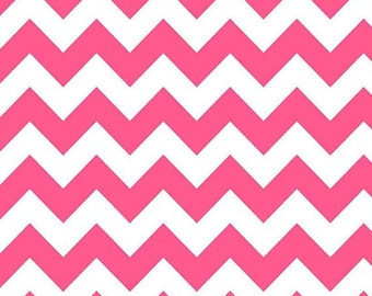 LAST PIECE - Riley Blake Designs Neon Pink Chevron Medium Quilting Apparel Fabric