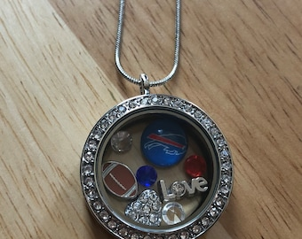 Buffalo bills football floating charm necklace! Free shipping!