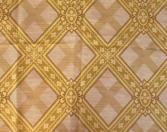 Pierre Frey/Braquenie Large Trelliswork Linen Print in Mustard Yellow