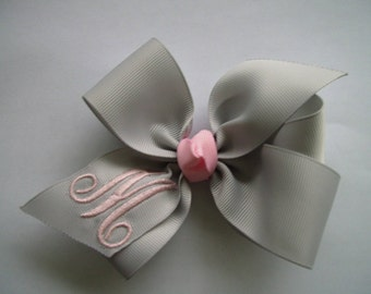 Grey Initial, Monogram Hairbows, Hair Bow Gray, Pink Letter, Formal Font, Ribbon Custom, Boutique Clippie, Designer Knot, New Baby, Party